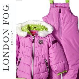 London Fog Purple Snow Suit Puffer & Bibs Size 4T